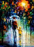 Rainy Walk With Daddy by Leonid Afremov by Leonidafremov
