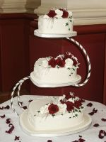White, Burgundy Wedding Cake by Franbann