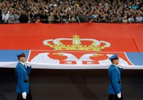 Serbian Guardsmen and their Giant Flag. by SerbPatriot
