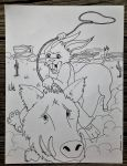 Bunny On A Boar Line Art - For Abbie by Clamdiggy