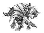 Pony May Cry - Shining Armor pen sketch by MetaDragonArt