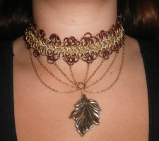 Gold Leaf necklace by enchantress13