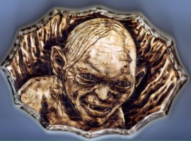 Smeagol Woodburning by vileangelofdeath