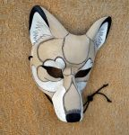White and cream timber wolf mask by merimask