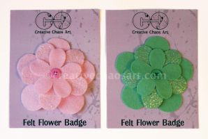 Felt Flowers - Simply Glitter - Pink and Green by bicyclegasoline