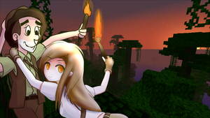 paulsoaresjr and MinecraftMom in the Jungle by MAGNUS-8M