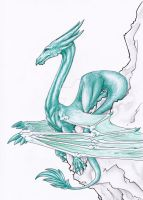 .: Green dragon, white stone :. by Nala-l-Taiir