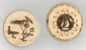 Pyrography Coasters by Everild-Wolfden