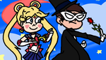 Sailor Butterfly and Tuxedo Diaz by FlyingPrincess