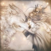 Druid and Wolf by Ashwings