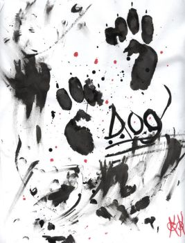 Abstract Inking - Dog by FungalZombieX