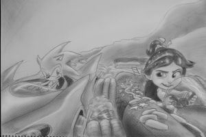 Vanellope Gone Sonic! by DrawingForLiving