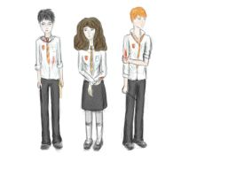 Harry, Ron and Hermione end of 6th year by Invincible3713