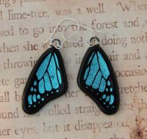 Glass Blue Butterfly Earrings by FusedElegance