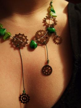 Mechanical Forest Fairy Necklace by GirlPuck