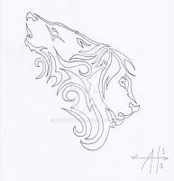 Wolf Lion Tattoo Outline by moehawk37