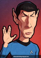 Leonard Nimoy - Spock (Cartoon Caricature) by wilson-santos