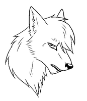 Sad/Pensive Free Wolf Lineart by The-Crow-Faced-Wolf