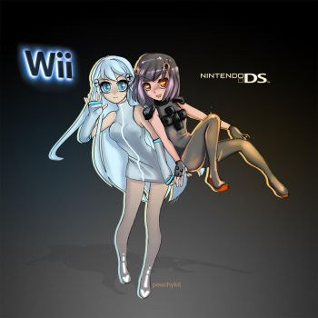 Nintendo Wii+DS tans by peachykit