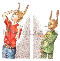 Pinocchio and Lucignolo with ears like a donkey by MariliaZo