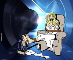 Commission: Emma Frost's Danger Room adventure by sandrock74