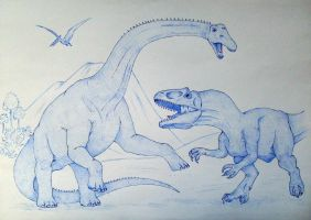 Allosaurus vs Diplodocus by Javor911