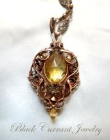 Citrine Drop and Copper Pendant by blackcurrantjewelry