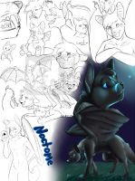 Noctome Sketch Page by RikaPup