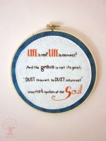 Life is Real! Life is Earnest! wall hanging 2 by quirkandbramble