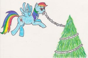 Rainbow Dash Is helping to decorate the Tree by Tesa-studio