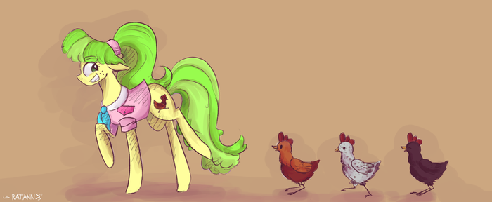 |MLP Fanart|Peachbottom loves chickens! by RatAnn