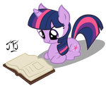 cute twilight reading by MLP-Scribbles