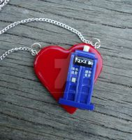 TARDIS Heart Necklace by geeekalicious