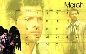 March 2011 Castiel Calendar by Falthee