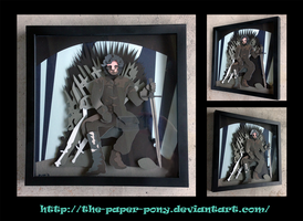 Commission: Jon Snow Shadowbox by The-Paper-Pony