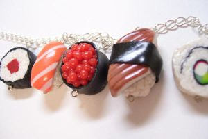 Sushi Charm Necklace by SupernovaDesigns