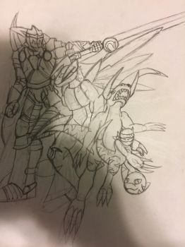 The entire Exaltdramon line (WIP) by GrimlockGabe