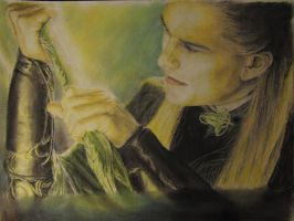 pastel drawing of legolas by cola93