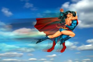 Superman and Wonder Woman: Ramming kiss by godstaff