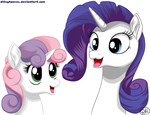 Rarity and Sweetie Belle by DitzyHooves