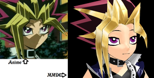Anime vs MMD Yami pout by Eripmav-darkness