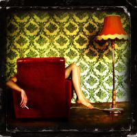 armchair, cigarette, lamp by csali