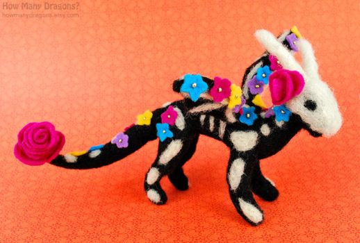 Day of the Dead Felted Skeledragon by HowManyDragons