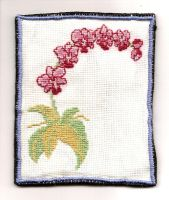 orchid cross stitch finished by BlackEyesSnowAngel