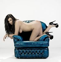 Blue Leather Chair by BikeBoyPunk