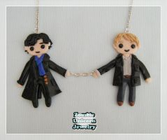 Sherlock and John handcuffed necklace by Galadriel89