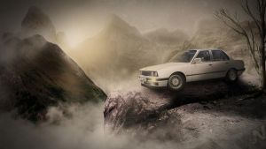 old BMW with sky Full HD by wswsart