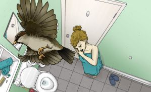 The Bird in the Bathroom Color by MichelleSix