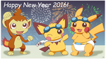 Happy New Year 2016: Year of the Monkey by pichu90
