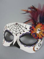 Deluxe Purple and Gold Day of the Dead mask by maskedzone